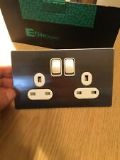 5x13amp Double Socket Brushed Silver