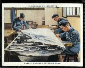 Tobacco Card, Churchman, THE RAF AT WORK, 1938, Fabric Workers Covering Wing,#34
