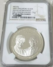 2001 Mr Lee Kuan Yew & Dr. Mahathir Silver Coin Limited Mintage