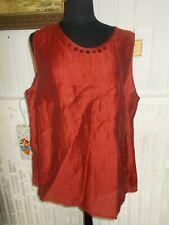 Top Tee shirt tunique débardeur sans manches DORIS STREICH 54D 56FR lin rouille
