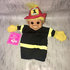 """VINTAGE RUSS """"LUV PET"""" TROLL GLOVE PUPPET FIREMAN FIREFIGHTER TOY With Tag"""
