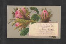 1880s L B MOODY DEALER IN STAT'RY FANCY GOODS SALEM MASS VICTORIAN TRADE CARD