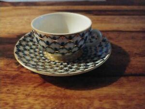 Mokka-/Espressotasse & Untertasse Lomonosov Kobaltnetz Tasse, gebraucht