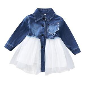 Baby Girls ️Toddler Kids Denim Shirt Tops Mesh Dress Newborn Outfits Tutu Skirt