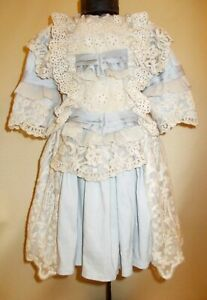 Cotton dress for antique dolls 46-50 cm (18-20 inches).Length 37 cm (14,3 in)