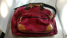 LL Bean Vintage Canvas Leather Duffle Bag USA Blue Strap Travel Carry On Bag