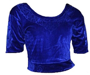 Blau Samt Top Choli Oberteil für indischer Sari Bollywood Gr. S bis 3XL