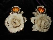 Avon Porcelain Gold Tip Ivory Winter Rose Candle Holders 2005 Holiday Collection
