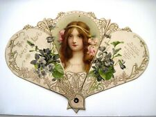 """Gorgeous Vintage """"To My Sweet Love"""" Fan -Lovely Lady Pink Flowers In Her Hair*"""