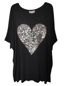 NEW Womens Sequin HEART Baggy Ladies T-shirt Soft Touch Oversize Tunic Top