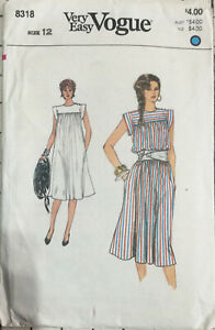 80s 90s Very Easy Vogue Pattern Pullover A-line Dress 8318 Size 12
