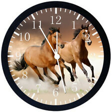 Beautiful Horse Black Frame Wall Clock Nice For Decor or Gifts E356