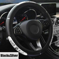 Universal Car Steering Wheel Cover Protector Glove Universal Silver PU Leather