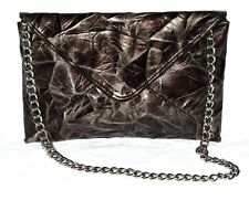 Jessica McClintock Brown Faux Patent Leather Envelope Clutch Shouder Bag NWOT