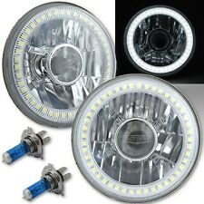 5-3/4 Projector SMD White LED Halo Halogen Bulb Crystal Headlight Angel Eye Pair