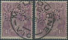 Officials - 1924 (SG.O84) KGV 4½d Violet perf.OS (2, once a pair). May 1929 cds.