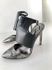 BCBGeneration Size 7 Black Silver Close Toe Pump Leather EUC