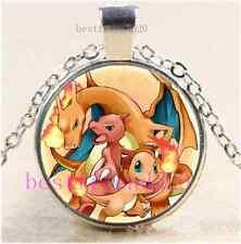 Pokemon Fire Evolutions Cabochon Glass Dome Silver Chain Pendant Necklace