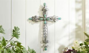 Sculpted Iron Wall Cross With Turquoise Bead Detailing Wall/Home Decor