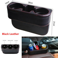 1Pcs Leather Dual Cup Holder Car Seat Mount Console Phone Storage Box Catcher