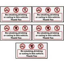 5x No Smoking Eating Drinking in This Vehicle Signs Vinyl Sticker Taxi Bus Decal