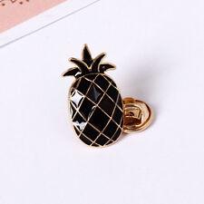 Cute Gold Plated Black Pineapple Shirt Collar Enamel Brooch Pin