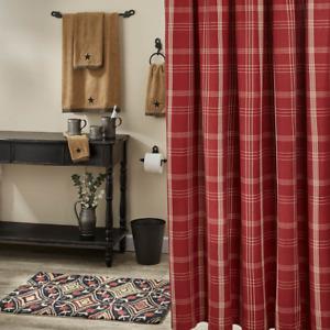 Park Designs ARLLINGTON Fabric Shower Curtain - Wine and Tan Plaid