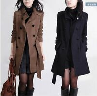 Womens Fashion Wool Blend Double Breasted Trench Coat Windbraker Jacket
