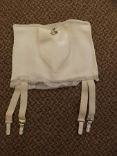 "Vtg 1950s NEW NOS White Rubber & Rayon Open Bottom 4 Garters Girdle M/26"" Pin Up"