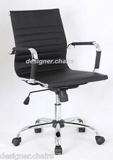 BLACK Ribbed Designer Office Chair Faux Leather New