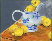 LEMONS CITRUS FRUIT BLUEBERRIES CREAMER SHABBY COUNTRY CHIC ORIGINAL PAINTING