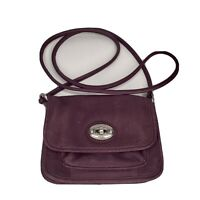 Fossil Leather Crossbody Bag Small Dark Purple Clasp Genuine Leather Soft Cute