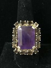 Bounkit Boutique Designer Amethyst and Smokey Quartz Ring Size 8.5