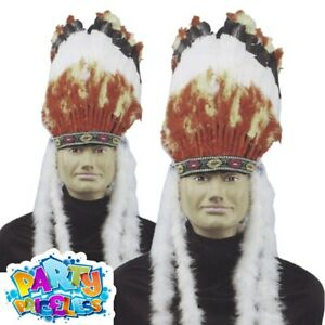 Adult Native American Feather Headdress Red Indian Fancy Dress Costume Accessory