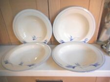 POOLE POTTERY DRAGONFLY BLUE HANDPAINTED 4 LARGE RIMMED SHALLOW BOWLS