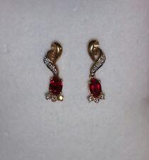 Ross Simons 14k Yellow Gold Red & diamond drop dangle earrings $265