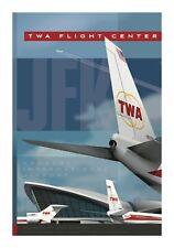 """JA079 TWA FLIGHT CENTER JFK TRIBUTE POSTER 14"""" X 20""""  ARTIST CHRIS BIDLACK"""