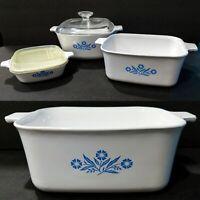 Lot of 3 Vintage CORNING WARE Cornflower Blue Baking Casserole Dishes