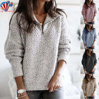 Womens Pullover Sweater Long Sleeve Knitted Sweatshirt Ladies Zipper Jumper Tops