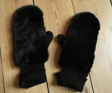 *BNWT* MINT VELVET black mittens gloves with faux fur front M/L RRP £35
