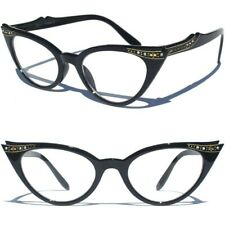 NEW CAT EYE CLEAR LENS GLASSES BLACK FRAME WITH RHINESTONES