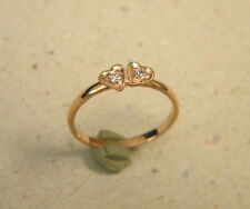 Lady's Girl's Rose Tone Gold Plated 2 Hearts & CZ's Fashion Ring Free Shipping