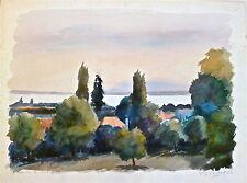 W.J. ROCHAT aquarelle originale signée 1972 paysage  P 691