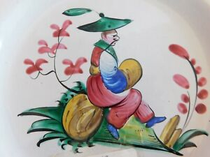 Important Antique French Faience Les Islettes  Seated Chinese  Man Pottery Plate