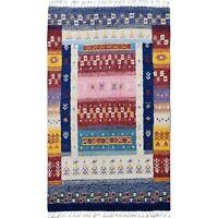 Tribal Geometric Moroccan Gabbeh Area Rug Hand-Knotted Lamb-Wool Carpet 5'x9'