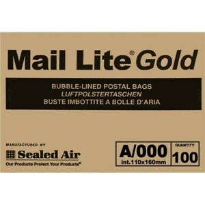 A/000 MAIL LITE PADDED BAGS ENVELOPES GOLD BOX OF 100 LOW CHEAP PRICE UK DEL