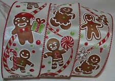 "Wired Ribbon~Christmas Gingerbread Man~Tree~Candy Cane~Ivory~Holiday~2.5""~Bow"