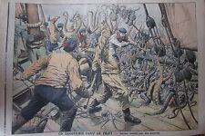 BATEAU PECHE ASSAILLI PAR DES PIEUVRES / INFANTICIDE GRAVURE PETIT JOURNAL 1906