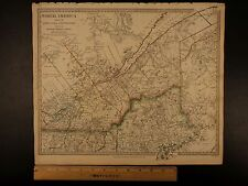 1844 BEAUTIFUL Huge Color MAP North America Canada Maine Montreal ATLAS
