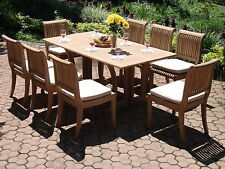 Giva A-Grade Teak 9 pc Dining 69 Console Rectangle Table Chair Set Outdoor Patio